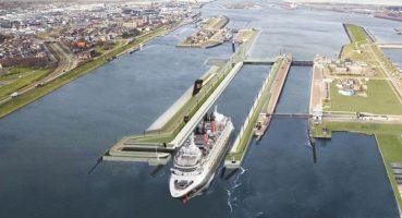 Mijlpaal aanleg nieuwe zeesluis IJmuiden: deurkas afgezonken